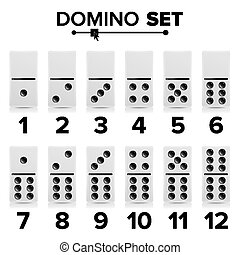 Domino Set Vector Realistic Illustration. White Color....