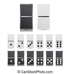 Domino Set Vector. Black And White Illustration. Realistic...