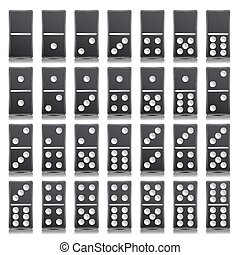 Domino Full Set Vector Realistic Illustration. Black Color....