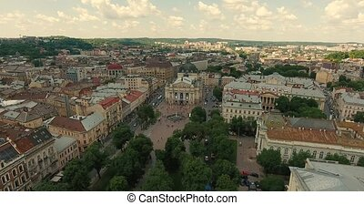 Lviv Opera Aerial Old City Ukraine. Central Part of Old City...