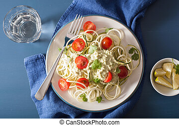 spiralized courgette salad with avocado dressing, healthy...