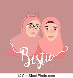 bestie best friend two girl islam wearing scarf veil
