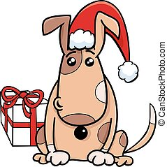 puppy with gift on Christmas time - Cartoon Illustration of...