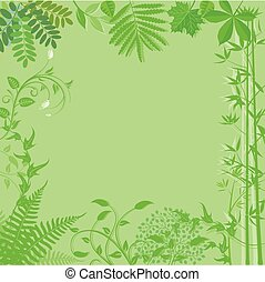 Floral.eps - Background with green plants and leaves...