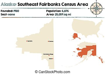 Alaska: Southeast Fairbanks census area - Large and detailed...