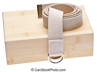 Yoga Practice Equipment : Bamboo Block and Strap Isolated on...