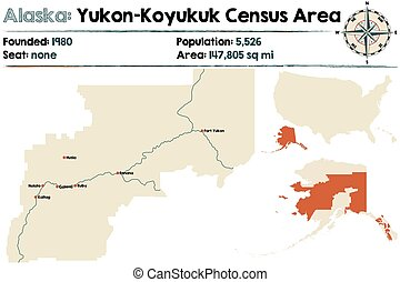 Alaska: Yukon-Koyukuk Census Area - Large and detailed map...