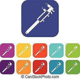 Vernier caliper icons set flat - Vernier caliper icons set...