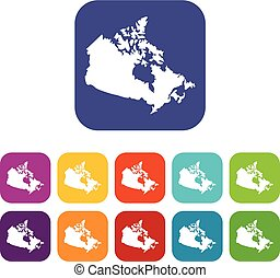 Canada map icons set flat