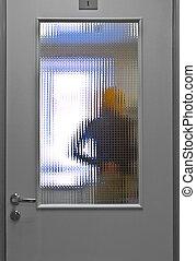 Ambulatory patient     - door with dim glass