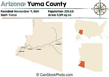 Large and detailed map of Yuma county in Arizona