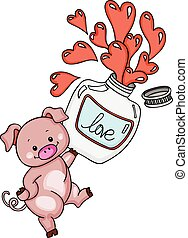 Cute pig with love potion bottle - Scalable vectorial image...