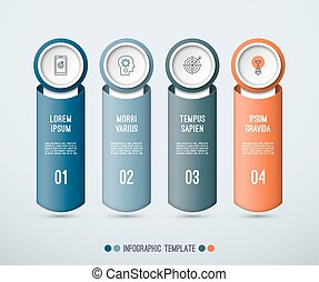 Infographic concept of 4 vertical elements.