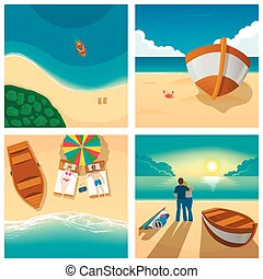 Set of four pictures with couple relaxing on sunny beach. Tourism, boat, summer vector illustration.
