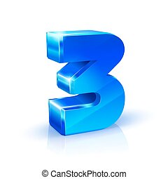 Glossy blue Three 3 number. 3d Illustration on white background.