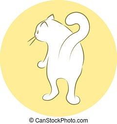 White House Cat - Line Art Vector Illustration of A White...