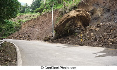 Landslide on the mountain road..Camiguin island Philippines....