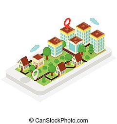 Isometric location, mobile phone with city on it's screen,...