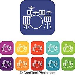 Drum kit icons set flat - Drum kit icons set vector...