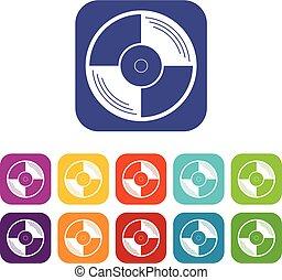 Vinyl record icons set flat