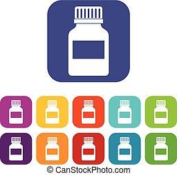 Medicine bottle icons set flat