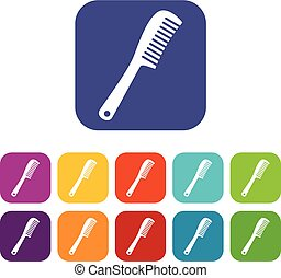 Comb icons set flat - Comb icons set vector illustration in...