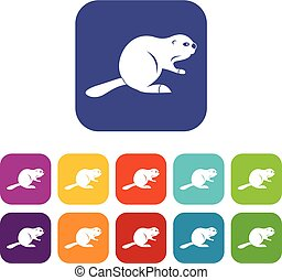 Canadian beaver icons set flat - Canadian beaver icons set...