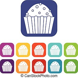 Cup cake icons set flat - Cup cake icons set vector...