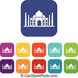 Taj mahal icons set flat - Taj mahal icons set vector...
