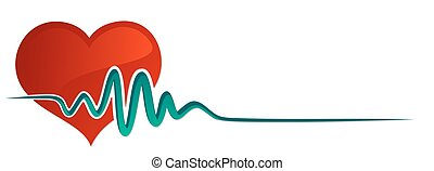 Heart with cardiogram. - A logo of red heart with the...