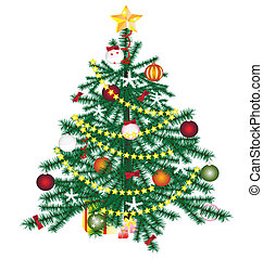 Christmas tree - on a white background Christmas tree with...