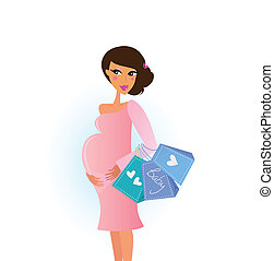Shopping pregnant woman - A stylish pregnant woman shops for...
