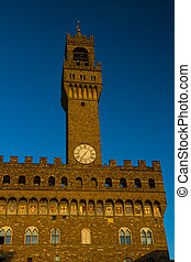 Old Palace Clock Tower, Florence Italy. - Clock Tower of Old...