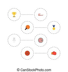 Flat Icons Reward, Boxing, Table Tennis And Other Vector Elements. Set Of Activity Flat Icons Symbols Also Includes Boxing, Basketball, Arrow Objects.