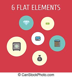 Flat Icons Money, Accounting, Atm And Other Vector Elements. Set Of Finance Flat Icons Symbols Also Includes Jewel, Gem, Money Objects.