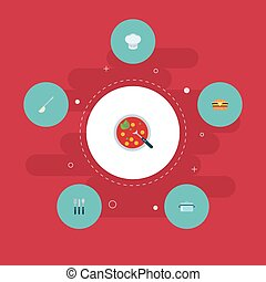 Flat Icons Soup Spoon, Casserole, Broth And Other Vector Elements. Set Of Cooking Flat Icons Symbols Also Includes Burger, Broth, Casserole Objects.
