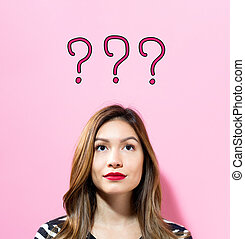 Question Mark text with young woman