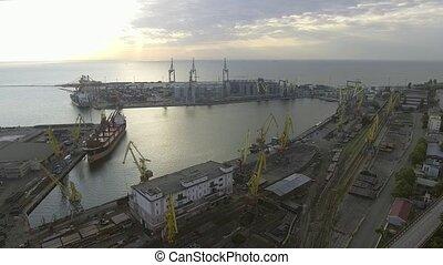 Odessa port. Urban aerial view. Ukraine - Odessa Marine...