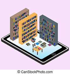 Isometric infographic about libraries and informations in...