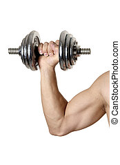 Muscular male hand with iron dumbbell