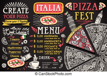Pizza Menu Italian Food Vector Design - Pizza italian menu...
