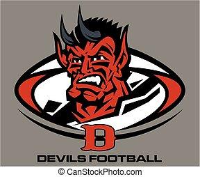 devils football mascot inside ball team design for school,...