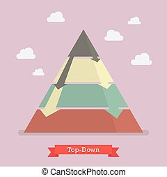 Top-down pyramid business strategy. Vector illustration