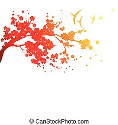 red silhouete,flowers tree , on a white