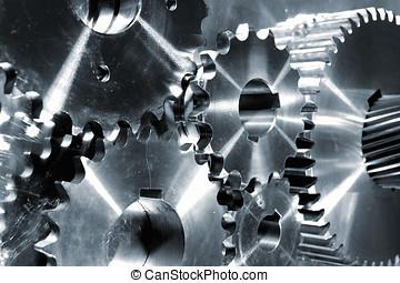 titanio, engranaje, maquinaria