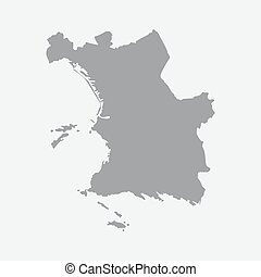 Marseilles city map in gray on a white background