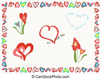 A set of different elements for romantic postcards in frame of hearts.