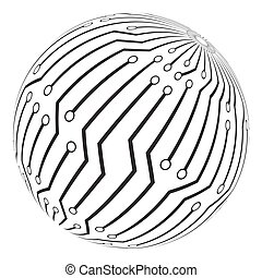 circut board globe logo vector symbol icon design. Beautiful...