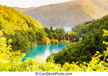 beautiful landscape with waterfalls in Plitvice lakes national park in Croatia