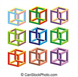 Optical illusion with many twisted square in different color...